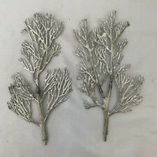 Two 2 Vintage Silver HO Scale Metal Trees For Model Train Layouts Rare!