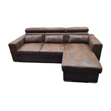 Couch Schlafsofa MAGGIO Vintage Stoff Wildleder Schwarz Anthrazit Braun Ecksofa