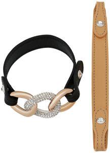 Swarovski Bound Leather and Chain Crystal Pavé Bracelet for Women 5080041