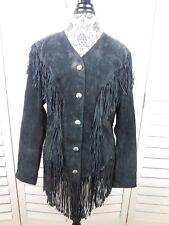 Vintage Cripple Creek Fringe Suede Jacket Womens Large Black Coat Ladies Blazer