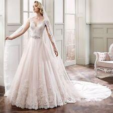 Crystal/Diamante V Neck A-line Cap Sleeve Wedding Dresses