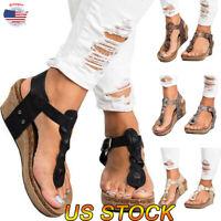 Summer Women Blet Sandals Wedge Platform Slingback Pumps Buckle Straps Shoes New
