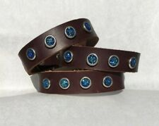 "Dog Collar 10-13"" SM Blue Druzy Leather handmade USA by Dogtown"