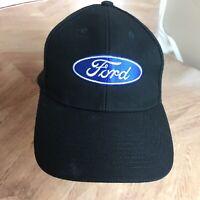 Vintage FORD Pundmann Snapback Black Blue Trucker Hat Cap Wool Acrylic Men's