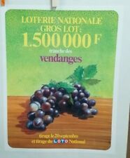 AFFICHE ORIGINALE ANCIENNE TRANCHE DES VENDANGES RAISIN  LOTERIE NATIONALE