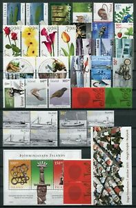 Iceland Year Set 2005 MNH Complete Including Birds & 2x Boats Booklet Panes