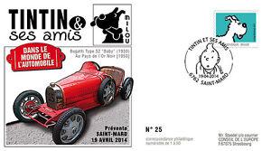 "FDC BELGIQUE ""TINTIN et ses Amis - VOITURE / BUGATTI Type 52 Baby - MILOU"" 2014"