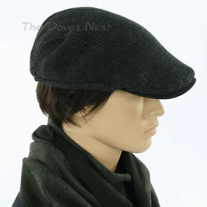 VAN HEUSEN Men's ONE SIZE Charcoal GRAY Heavy Ribbed Knit NEWSBOY HAT Ivy Cap