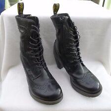 Dr Martens Regina Womens Brogue Leather Heeled Ankle Boots - Black - UK7