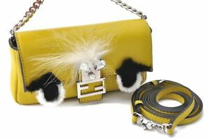 Authentic FENDI Monster Micro Baguette Hand Bag 2Way Leather Yellow D0533