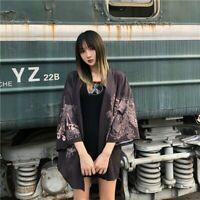 Lady Japanese Kimono Coat Yukata Outwear Top Retro Chinese Dragon Cardigan New
