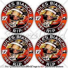 "JULES BIANCHI RIP Formula 1 F1 50mm(2"") Stickers Adesivi in Vinile per Auto x4"