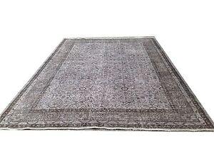 """Vintage OUSHAK gray faded pastel  Overdyed rug carpet 9'5"""" x 6'3"""""""