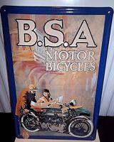 BSA MOTORCYCLES /SIDECAR,  EMBOSSED(3D) METAL ADVERTISING SIGN 30X20cm