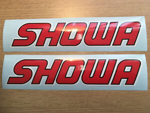 SHOWA UPPER FORK DECALS GRAPHICS BLACK RED WHITE, Quality Non oem.
