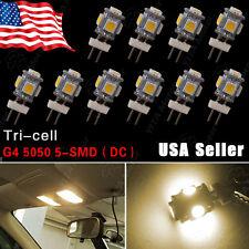 10X Warm White G4 JC10W GY4 GU4 5SMD Car RV Marine Auto Light Home Bulbs Lamps
