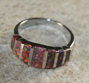 SILVER Elegant Orange Fire Opal Ring Size 7, WR41402