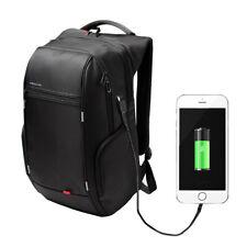"Kingsons 15.6"" Deluxe Notebook Backpack Black Travel External USB Charge Pocket"