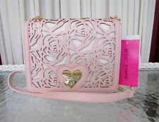 Betsey Johnson Floral Crossbody Bag Die-Cut Laser Cut Blush Pink Card Slips NWT