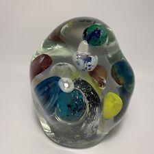"Vtg Large 15lb Signed Lisa Leydon ""Universe"" Multi Planet Art Glass Paperweight"