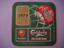 2003 Beer Coaster Bar Mat ~ CARLSBERG Brewing ~ Win 2004 Soccer-Football Tickets