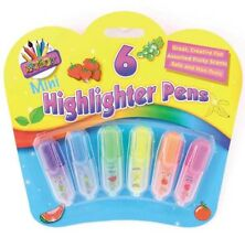 6 Pack Mini Scented Highlighter Pens Novelty Stationery Cool Smelly Collection