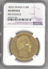 France 100 Francs 1855-A NAPOLEON NGC-AU Details gold