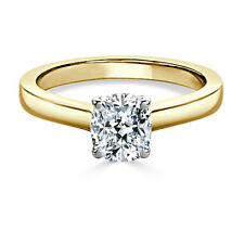 1.00 Ct Cushion Cut Solitaire Diamond Engagement Ring 14K Yellow Gold Size M N O