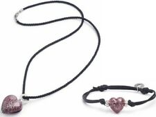 Antica Murrina Purple Handmade Glass Heart Necklace & Bracelet Starbright Set