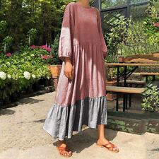 VONDA Women Casual Long Sleeve Shirt Dress Oversized Loose Long Dress Kaftan