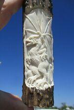 Drache , 2 keltische Drachen , Griff in Horn  beidseitig geschnitzt !