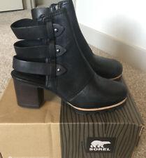 New Women's SOREL Addington Leather Black Booties Boots - Size 7.5