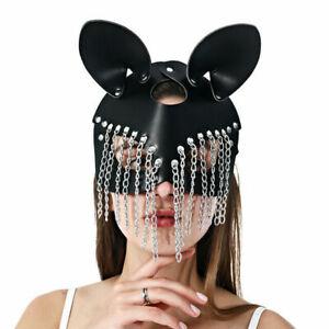 Adult Fetish PU Leather half face Mask Restraints Harness headgear club Costumes
