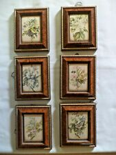 SET OF SIX  FLOWER PICTURE ARRANGEMENTS PRINTED ON SATIN AND FRAMED
