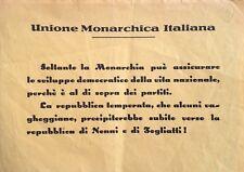§ UNIONE MONARCHICA 1953 - VOLANTINO E CONTRASSEGNO TONDO, CORONA E P.N.M.