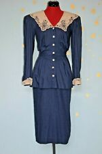 Nancy Johnson 80s  does 40s vintage  lace collar peplum dress