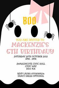 Personalised Ghost Halloween Party Invitations Birthday Invites Inc Envelopes B1
