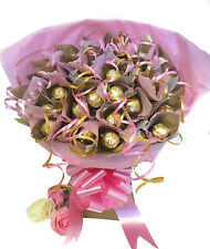 FERRERO ROCHER CHOCOLATE GIFT BASKET BOUQUET 34 ITEMS - PINKS AND GOLDS - *