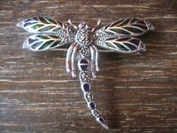 herrliche große Insekten Brosche Libelle Anhänger 925er Silber bunt emailliert