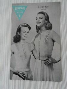 Original 1940's Knitting Pattern Teenage Twin Set Bestway 2448 Free P & P