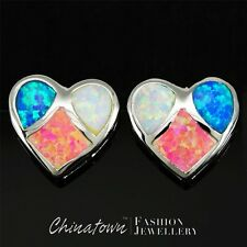 Heart Blue & White & Pink Fire Opal Mixed Inlay Silver Jewellery Stud Earrings