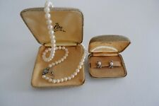 CIRO CULTURED PEARL NECKLACE & EARRING SET, - C1930/40'S SILVER CLASPS & BOXES