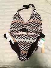 Perry Ellis Chevron Knit Brief Bikini-Neural colors-Size 38D/DD top/Lg. bottom