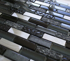 NEW BLACK BLUE GLASS STONE & SILVER TURNED STEEL RECTANGLE MOSAIC WALL TILES 8MM
