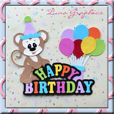 HAPPY BIRTHDAY MONKEY TITLE Embellishment card toppers scrapbooking