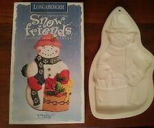 1997 Longaberger Pottery Snow Friends Chilly Snowman Cookie Mold Original Box