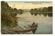 BINGHAMTON NY Susquehanna River Cemetery Fishing Boat