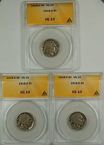 1918-D Buffalo Nickel ANACS VG-10 (Better) *PRICE FOR ONE COIN ONLY*