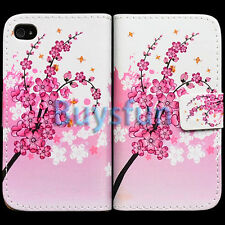 Flower Style Wallet Card Slot Leather Cover Case Skin For Apple iPhone 4 4G 4S