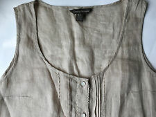 Tommy Bahama Linen Sleeveless  Pin Tucks Sheer Button Down Top Blouse Size S/P